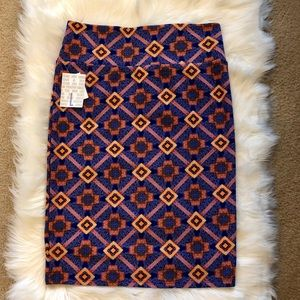 LuLaRoe Cassie NWT in blue/orange pattern! Sz.L